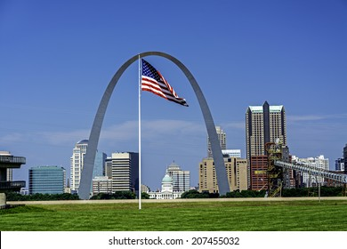 St. Louis Skyline Arch and American Flag