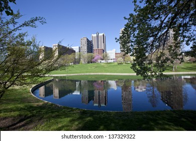 St. Louis skyline reflected in one of the many lakes in Jefferson Memorial Park