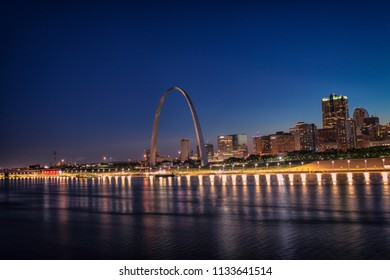 St Louis Skyline as seen from EAD's bridge over Mississippi River, St Louis, Missouri, USA
