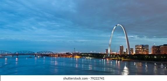 St. Louis at twilight blue hour.
