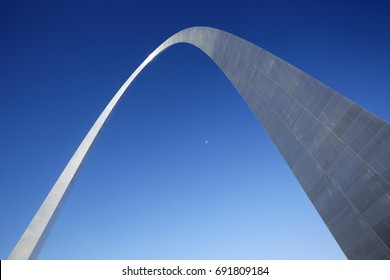 ST LOUIS, USA - 14TH SEPTEMBER 2016; Architectural detail of the iconic Gateway Arch in St Louis
