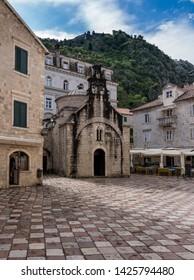 St Luke's Church on pedestrian streets of old town Kotor in Montenegro