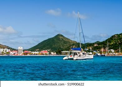 St. Maarten view with a catamaran.