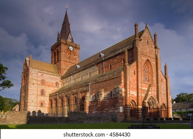 St Magnus Cathedral, Kirkwall, Orkney, in evening sunlight