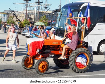 ST MALO, FRANCE - JULY 15, 2018. Unidentified French football fans supporters after the match of FIFA World Cup Russia 2018 France vs Croatia. France won 4-2. French are the world champion.