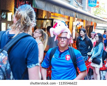 ST MALO, FRANCE - JULY 15, 2018. Unidentified French football fans supporters in France after the match of FIFA World Cup Russia 2018 France vs Croatia.  won 4-2. France is the world champion.