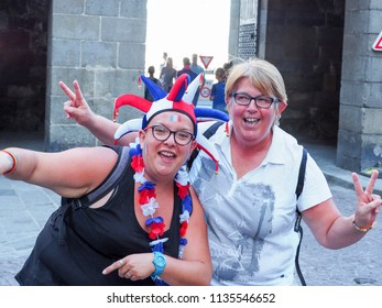 ST MALO, FRANCE - JULY 15, 2018. Unidentified French football fans supporters in France after the match of FIFA World Cup Russia 2018 France vs Croatia. France is the world champion.