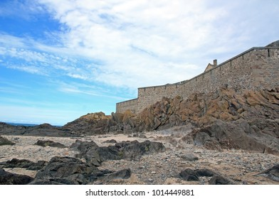 St Malo, outer walls seen of the beach, in the low tide (Brittany France)
