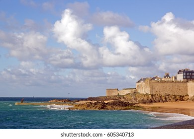 St Malo, ramparts, seen by the beach (Brittany, France)