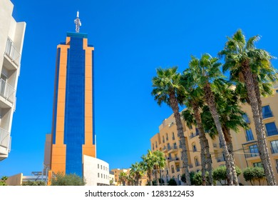 ST JULIAN'S, MALTA - OCTOBER 05, 2014: Cityscape with gorgeous view of Portomaso business tower, location at downtown. Popular tourist attraction. Malta island, Europe