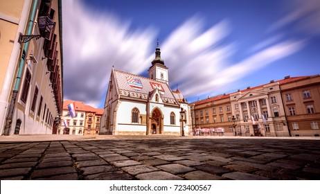 St. Marko's church in Zagreb on bright sunny day shot in long exposure