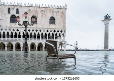 St. Marks Square (Piazza San Marco) during flood (acqua alta) in Venice, Italy. Venice high water. Natural disaster