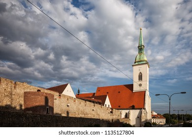 St. Martin Cathedral and old city wall in Bratislava, Slovakia