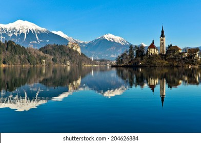 St. Martin Church on Island in Lake Bled with Beautiful Mountain Landscape