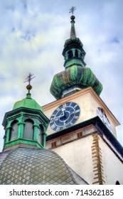 St. Martin church with its tower in Trebic - Moravia, Czech Republic