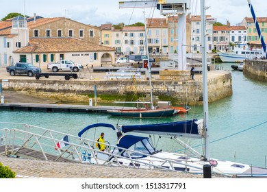 St Martin De Re, France - May 09, 2019: Port of Saint Martin De Re on Ile de Re island in France