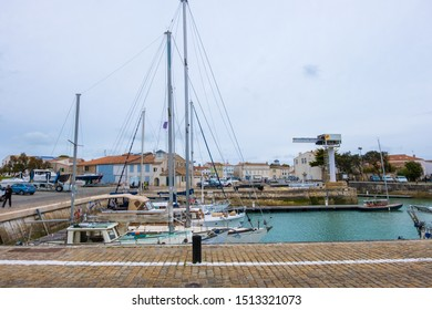 St Martin De Re, France - May 09, 2019: Sailboats in the harbour of Saint Martin de Re on Ile de Re island in France
