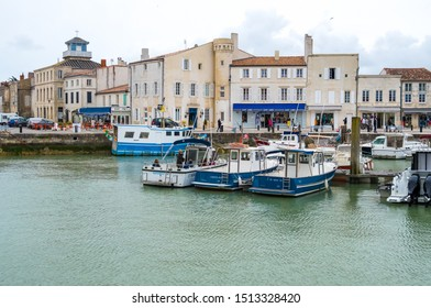 St Martin De Re, France - May 09, 2019: Fishing boats in the harbour of Saint Martin de Re on Ile de Re island in France