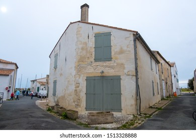 St Martin De Re, France - May 09, 2019: View of typical street in Saint Martin de Re on Ile de Re island, France