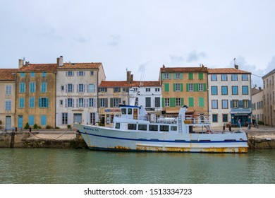 St Martin De Re, France - May 09, 2019: Fishing boat in the harbour of Saint Martin de Re on Ile de Re island in France