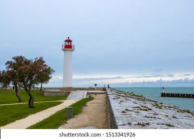 St Martin De Re, France - May 09, 2019: Phare de Saint-Martin-de-Re is a Lighthouse on the Ile de Re island in France