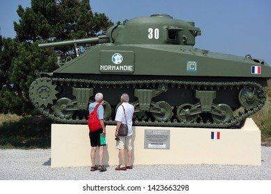 ST. MARTIN DE VARREVILLE, NORMANDY, FRANCE - JULY 24, 2014: D-Day WWII Monument commemorate the French landing of General Leclerc at Utah beach, Normandie.