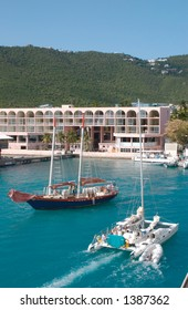 St. Martin Island waterfront showing boating and resort