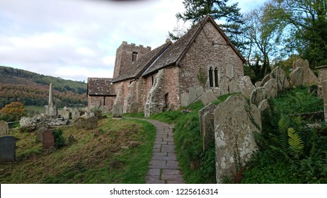 St Martins church, Cwmyoy, near Abergavenny, Monmouthshire, Wales. The structural distortion made obvious by the leaning tower was caused by landslips over the centuries