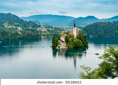 St. Martin's church in the middle of the lake, Bled, Slovenia
