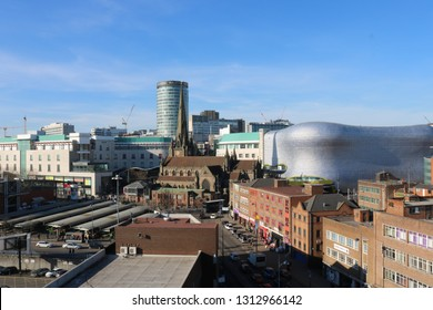 St Martins Church surrounded by the Bullring shopping centre and Rag market. Birmingham City Centre. taken 14th Febuary 2019