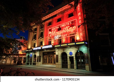 St Martin's Theatre in London on Olympia Way in its 66th year of production with Agatha Chrisitie's The Moustrap, London, England, United Kingdom - June 12, 2018