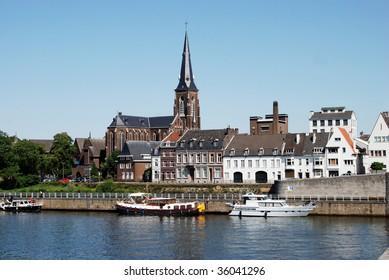 St. Martinuskerk & River Maas Scene, Maastricht, Netherlands
