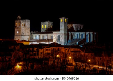 St Mary Cathedral of Siguenza Guadalajara province Castilla-La Mancha Spain. Nocturnal