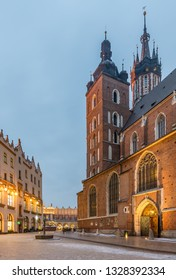 St Mary church and old city Krakow Poland