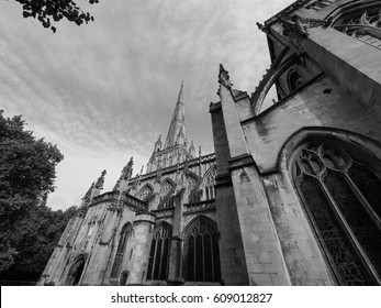 St Mary Redcliffe Anglican parish church in Bristol, UK in black and white