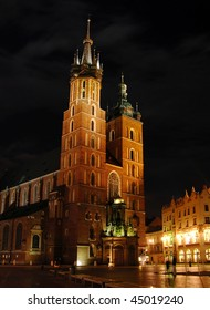 St. Mary's Basilica at night, Krakow, Poland