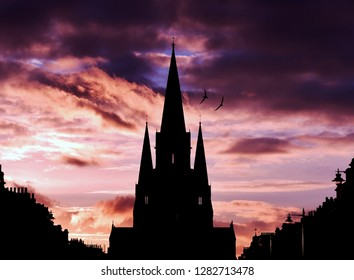 St Mary's Cathedral Edinburgh at sunset in silhouette