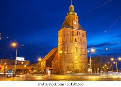 St. Mary's Cathedral in Gorzow Wielkopolski, Poland at twilight