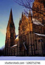 St Mary's Cathedral in snow at early morning