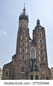 St. Mary's Church built in brick gothic style in the Main Market Square in Krakow, Poland
