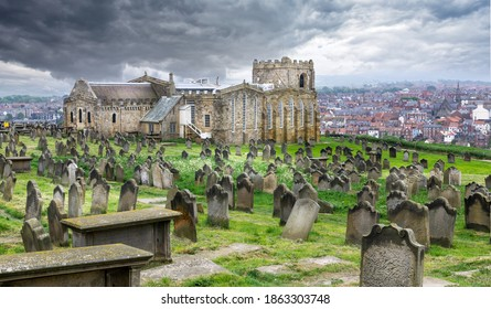 St Mary's Church and Graveyard, setting for Bram Stokers Dracula taken in Whitby, Yorkshire, UK on 22 May 2018