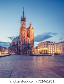 St Mary's church on Main Market Square in Krakow, night