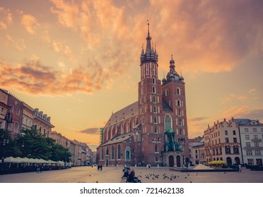 St Mary's church on Main Market Square in Krakow, colorful morning