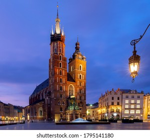 St. Mary's Church on the market square in night lighting. Krakow. Poland.