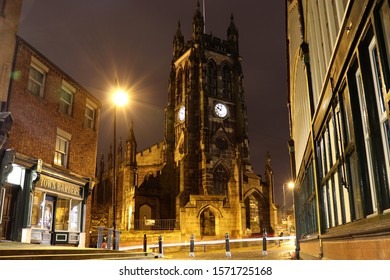 St Mary's Church, Stockport, on a winter's evening