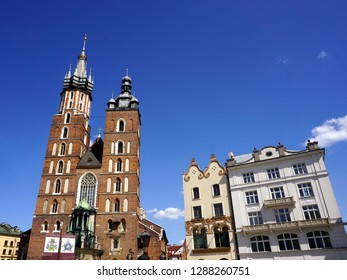 St. Mary`s church, a symbol of Krakow and one of the most famous landmarks in Poland. May 2018, Krakow, Poland