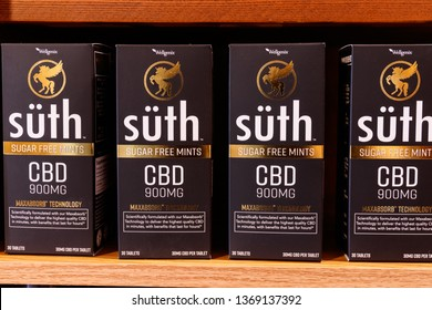 St. Marys - Circa April 2019: Suth CBD Mints. The popularity of CBD oil as a medicinal product has skyrocketed