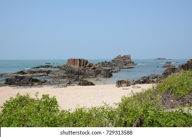 St. Mary's Island, also known as Coconut Island, is an island in the Arabian Sea off the coast of Malpe in Udupi, Karnataka, India known for distinctive geological formation of columnar basaltic lava.