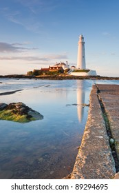 St Mary's Lighthouse at high Tide / Causeway at St Mary's Island is just about to be covered