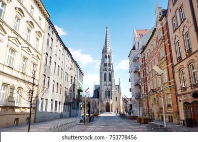 St. Mary's street and church in Katowice, Silesia, Poland, Europe